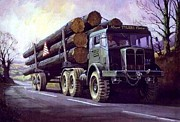 Timber Paintings - AEC Militant on round timber. by Mike  Jeffries
