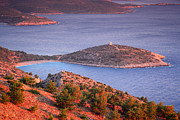 Northeastern Aegean Islands Prints - Aegan Golden sunset  Print by Emmanuel Panagiotakis