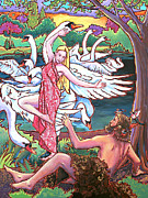 Swan Goddess Paintings - Aengus and Caer by Nadi Spencer