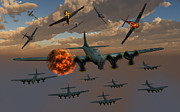 Destruction Digital Art - Aerial Combat Between German by Mark Stevenson
