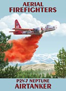 Firefighting Prints - Aerial Firefighters P2V Neptune Print by Airtanker Art by Marilynn Flynn
