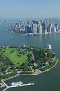 Governors Framed Prints - Aerial Governors Island And Manhattan, New York Framed Print by Thierry Grun