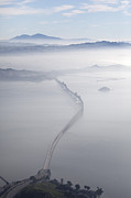 Painted Image Posters - Aerial Landscape Of Richmond-san Rafael Bridge, Looking East With Clearing Morning Fog And Mt Diablo In Background, San Francasco Bay, California, Usa Poster by Diane Miller
