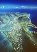 Lagoon Prints - Aerial Of Eastern Oahu Print by Carl Shaneff - Printscapes