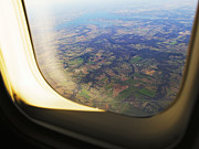 Air Travel Framed Prints - Aerial of Farmland Through Airplane Window Framed Print by Jeremy Woodhouse