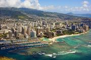 Ron Ron Framed Prints - Aerial of Honolulu Framed Print by Ron Dahlquist - Printscapes