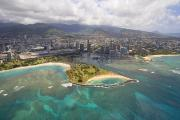 Ala Moana Metal Prints - Aerial of Magic Island Metal Print by Ron Dahlquist - Printscapes