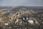 Mississippi River Photos - Aerial Of New Orleans Looking East by Tyrone Turner