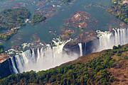 Zambia Waterfall Photos - Aerial Of Victoria Falls, Zambia, Africa by Yvette Cardozo