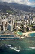 Ron Ron Framed Prints - Aerial of Waikiki Framed Print by Ron Dahlquist - Printscapes