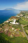 Four Seasons Hotel Framed Prints - Aerial of Wailea Coastline Framed Print by Ron Dahlquist - Printscapes