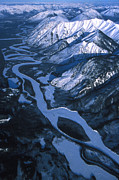 Bends Posters - Aerial Over A Frozen River And Snow Poster by Nick Norman