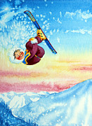 Sports Art Painting Originals - Aerial Skier 13 by Hanne Lore Koehler