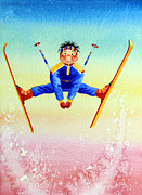 Kids Sports Art Originals - Aerial Skier 17 by Hanne Lore Koehler