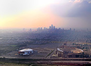 Philadelphia Skyline Art - Aerial View - Philadelphias Stadiums with Cityscape  by Bill Cannon