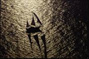 Hilton Prints - Aerial View Of A Sailing Vessel At Sea Print by Kenneth Garrett