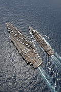 Uss Ronald Reagan Prints - Aerial View Of Aircraft Carrier Uss Print by Stocktrek Images