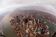 Lower Manhattan Framed Prints - Aerial View Of City Framed Print by Eric Bowers Photo