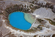 Crater Lake View Prints - Aerial View Of Crater Lake In Tongariro Print by Richard Roscoe