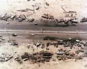 Operation Desert Storm Framed Prints - Aerial View Of Destroyed Iraqi Vehicles Framed Print by Everett