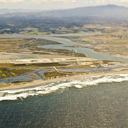 Flood Prints - Aerial View of Flood Plain and Coast Print by Eddy Joaquim