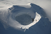 Crater Lake View Photos - Aerial View Of Frozen Lake In Summit by Richard Roscoe