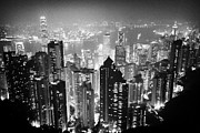 Hong Kong Framed Prints - Aerial View Of Hong Kong Island At Night From The Peak Hksar China Framed Print by Joe Fox