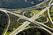 Overpass Framed Prints - Aerial View Of Junction In Bavaria Framed Print by Daniel Reiter