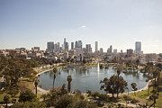 Aerial View Of Lake In Urban Park Print by Cultura Travel/Zak Kendal