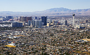 Communications Tower Prints - Aerial View Of Las Vegas Strip Print by Allan Baxter