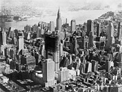 Mid-20th Framed Prints - Aerial View Of Mid-town Manhattan Framed Print by Everett