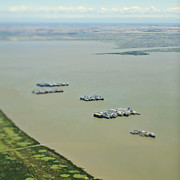 Staging Posters - Aerial View of Military Ships Poster by Eddy Joaquim