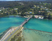 Joanne Kocwin Art - Aerial View of Narooma Bridge and Inlet by Joanne Kocwin