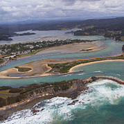 Joanne Kocwin Framed Prints - Aerial View of Narooma Inlet Framed Print by Joanne Kocwin