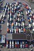 Seattle Art - Aerial View of Semi Trucks At Port by Don Mason