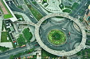 Aerial Framed Prints - Aerial View Of Shaghai Traffic Framed Print by Ixefra