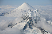 Snow-covered Landscape Prints - Aerial View Of Shishaldin Volcano Print by Richard Roscoe