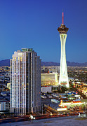 Communications Tower Prints - Aerial View Of Stratosphere Tower Print by Allan Baxter
