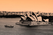 Sydney Photographs Framed Prints - Aerial view of Sydney Opera House Framed Print by Harry Neelam