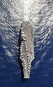 Carrier Framed Prints - Aerial View Of The Aircraft Carrier Uss Framed Print by Stocktrek Images