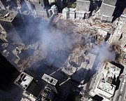 September 11 2001 Metal Prints - Aerial View Of The Destruction Where Metal Print by Stocktrek Images