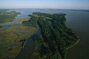 River Scenes Photos - Aerial View Of The James River by Ira Block