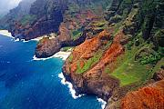 Li Na Prints - Aerial View of the Na Pa Li Coast Kauai Hawaii Print by George Oze