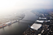 Walt Whitman Metal Prints - Aerial View of the Walt Whitman Bridge on the Delaware River Metal Print by Bill Cannon