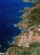 Cinque Terre Posters - Aerial View Of Town On Cliff Side Poster by Axiom Photographic