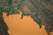 Horizontal Abstract Landscape Prints - Aerial View Of Uncultivated Landscape Print by Tobias Titz