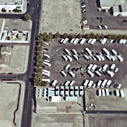 Asphalt Photos - Aerial View of Urban Parking Lot by Eddy Joaquim