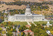 State Legislature Framed Prints - Aerial View of Utah State Capitol Building Framed Print by Gary Whitton