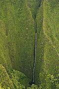 Land Feature Art - Aerial View Of Waterfall In Narrow Gorge, Na Pali Coast, Kauai, Hawaii by Enrique R Aguirre Aves