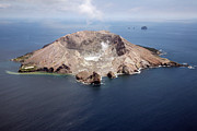 White Face Mountain Framed Prints - Aerial View Of White Island Volcano Framed Print by Richard Roscoe